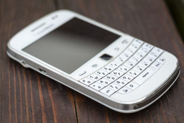 London, England - August, 2013: BlackBerry Bold 9900 Mobile Smartphone, As of September 2016 Blackberry Limited has announced that it will no longer make Smartphones due to poor sales worldwide.