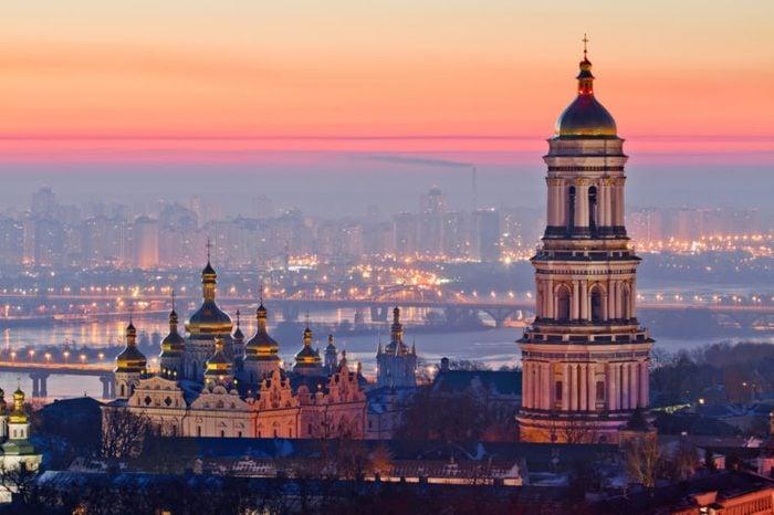 Aerial view at sunrise of the Kiev-Pechersk Lavra - one of the main symbol of Kiev, Ukraine