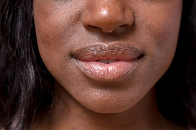 Close up Bare Lips and Nose of a Young African Woman