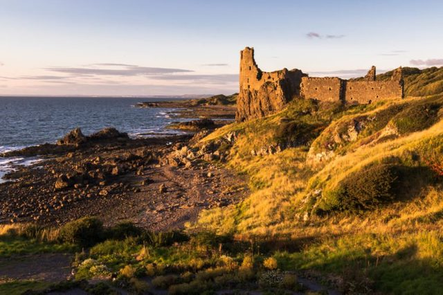 Dunure Castle at Sunset