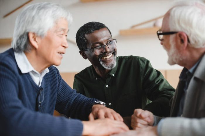group of multiethnic senior friends spending time together