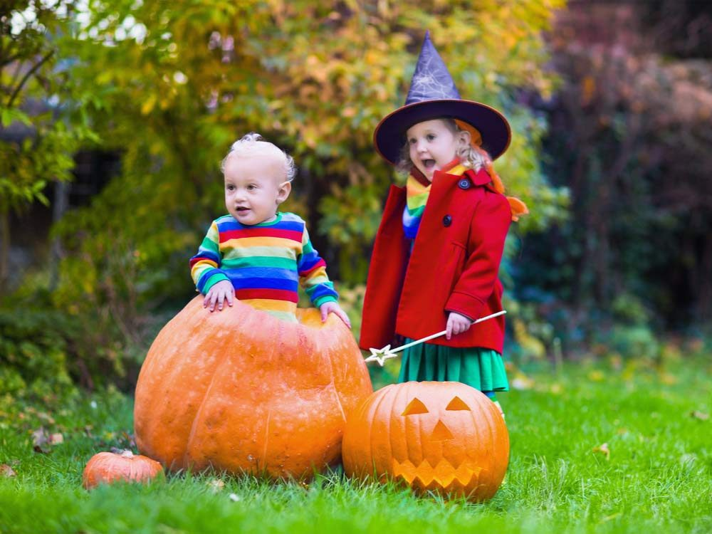 Little kids with giant pumpkins