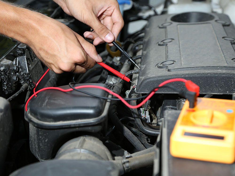 Testing a dead car battery