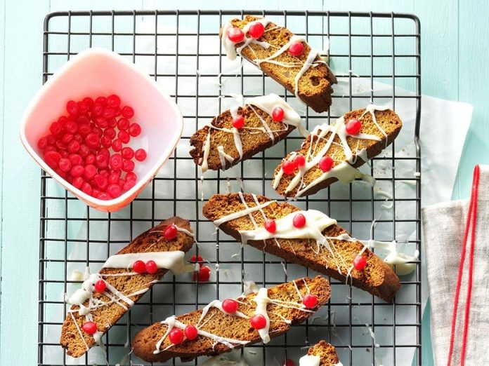 Drizzled gingerbread biscotti