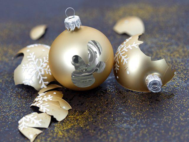 Broken Christmas orbs