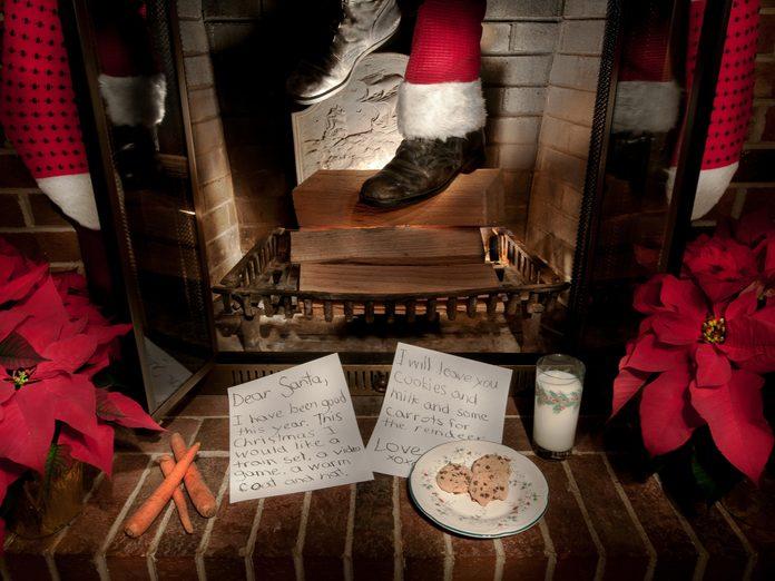 Chimney with Santa's foot