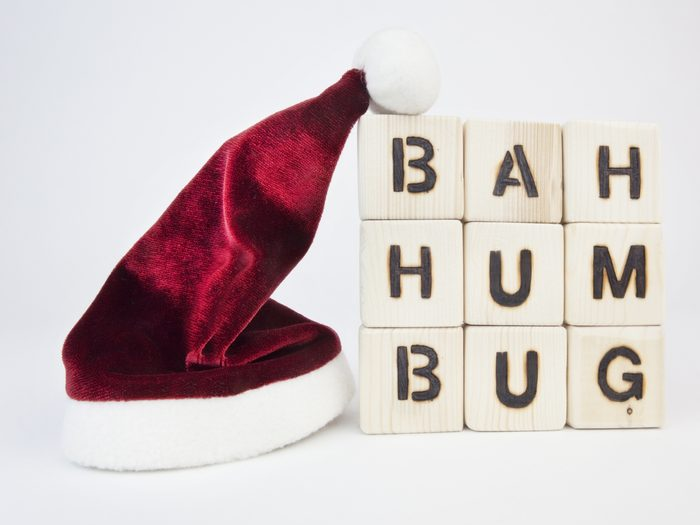 Santa hat and 'Bah humbug' letters