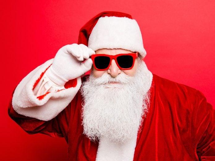 Santa wearing sunglasses
