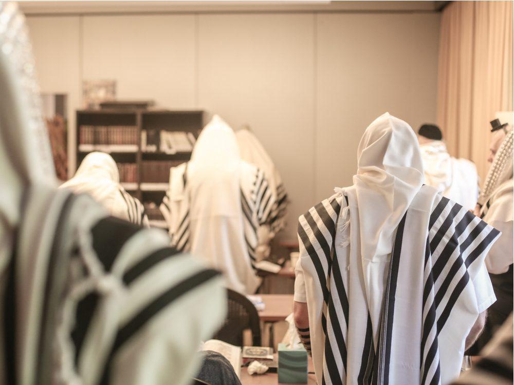 Jewish parishioners at synagogue