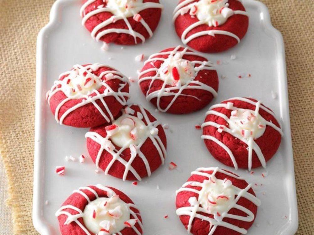 Red velvet peppermint thumbprints