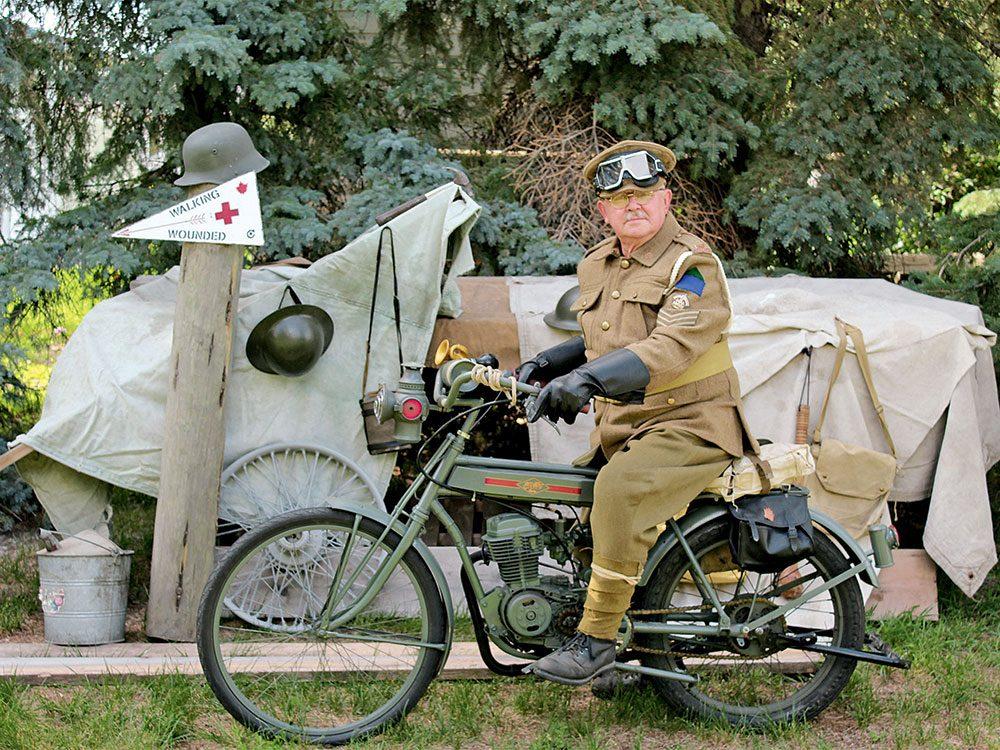 WWI-era vintage motorcycle replicas