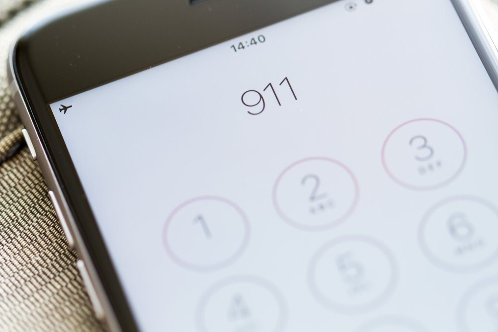 Emergency and urgency, 911 dialed on smartphone screen. Shallow depth of field.