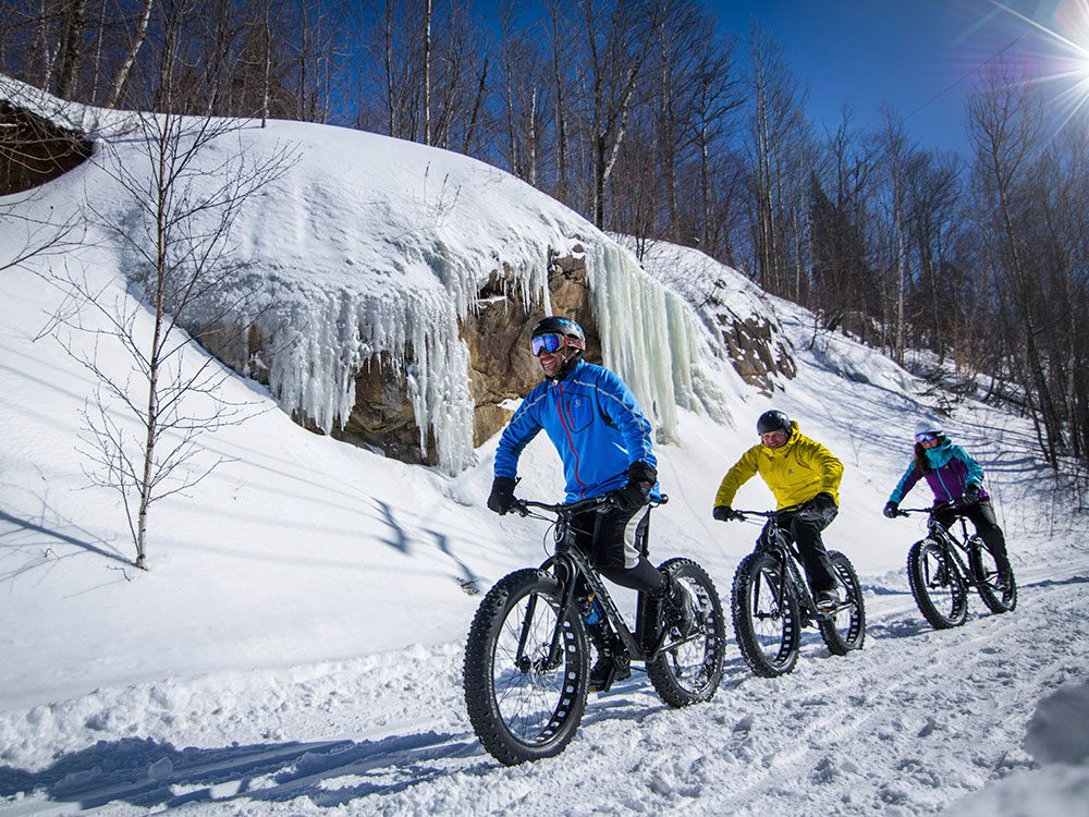 Mountain biking in the snow in Mont Tremblant, Quebec