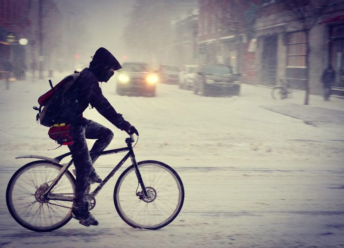 Cycling in winter in Montreal