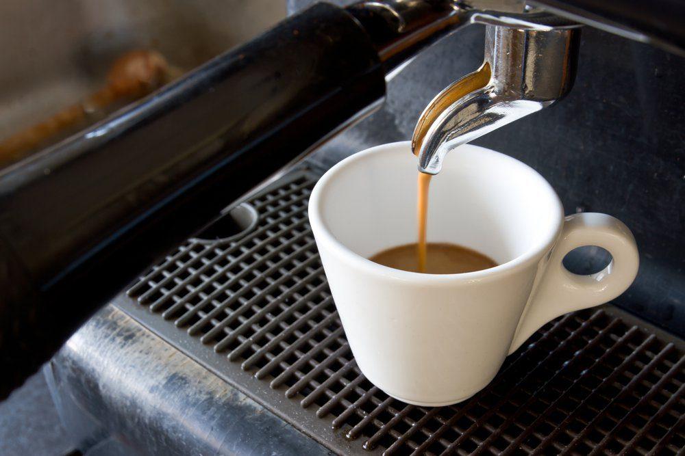 Espresso machine brewing a coffee