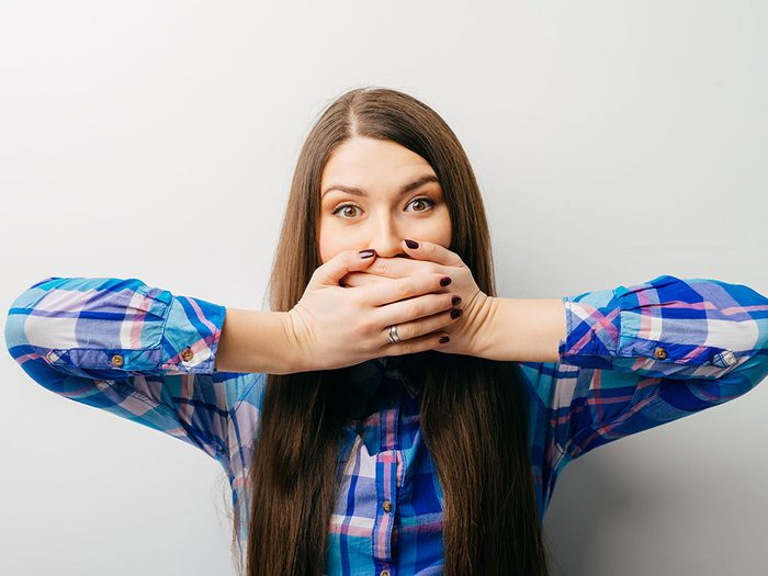 How to get rid of hiccups - cover your mouth