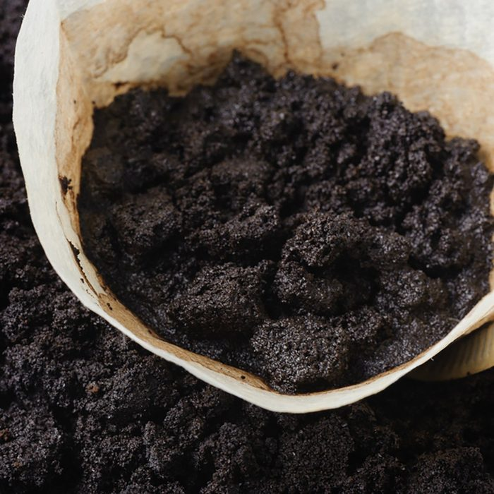 used white coffee filters with coffee ground