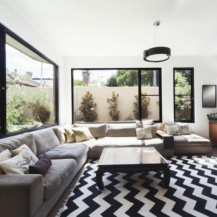 chevron rug living room