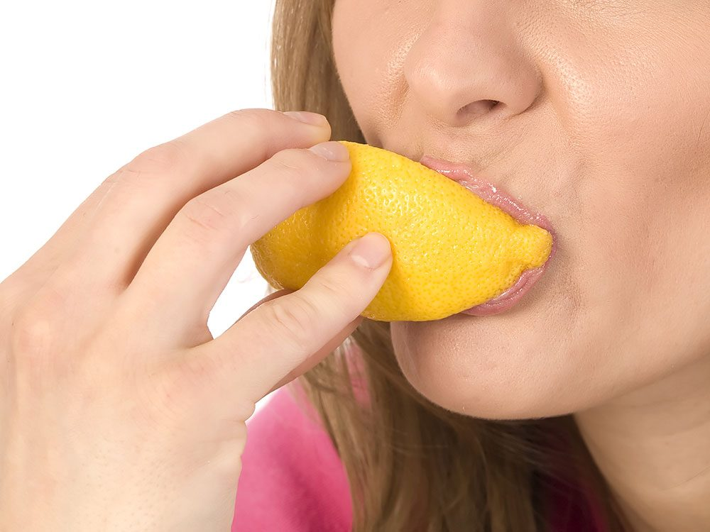 Suck on a lemon to get rid of hiccups