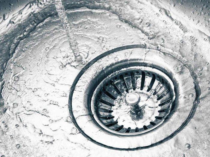 Water running down drain
