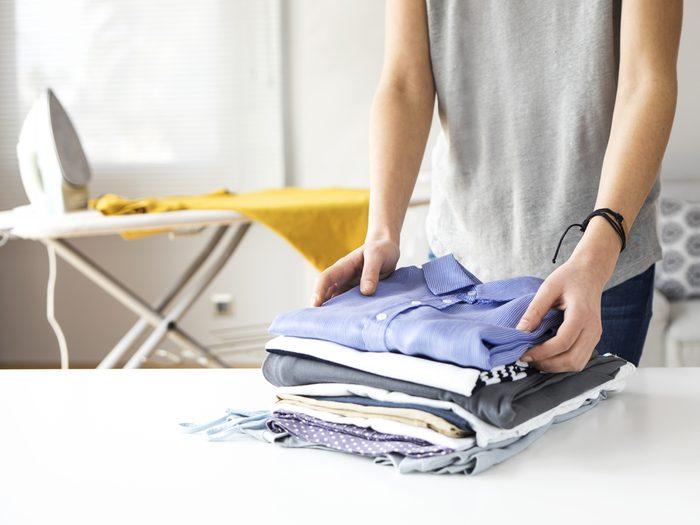 Folding and ironing shirts