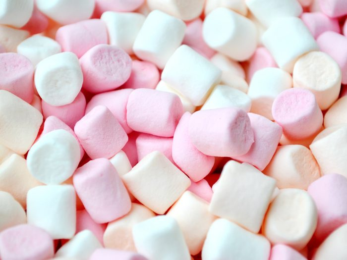 Pink and baby blue marshmallows