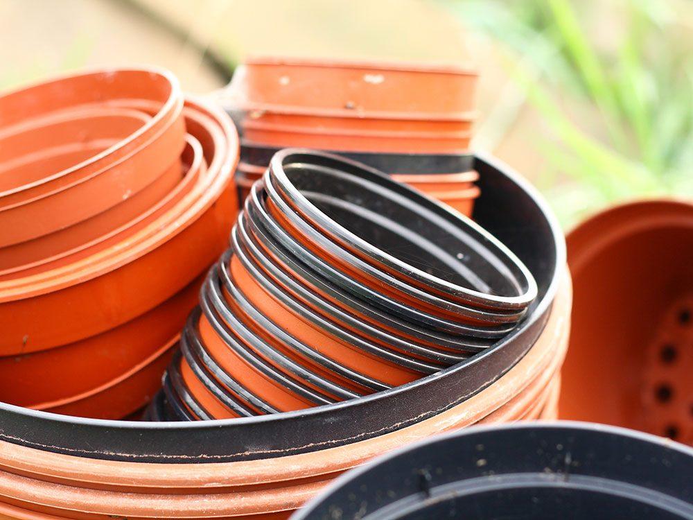 Urban gardening - plastic plant pots