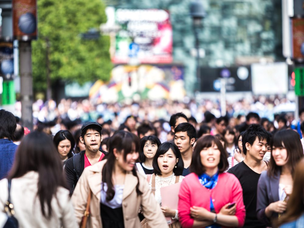 Japanese passersby on Tokyo street