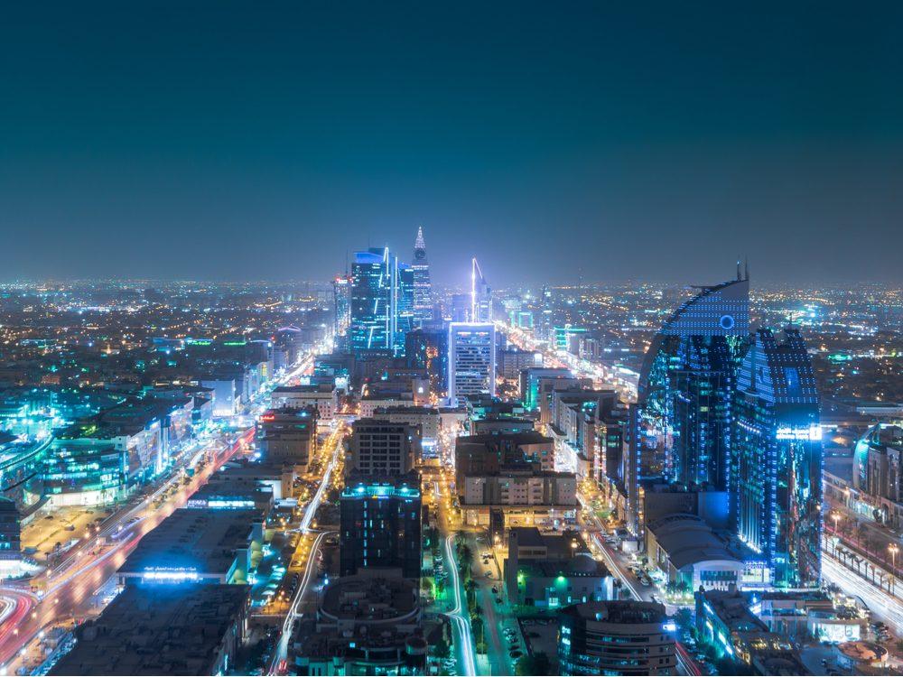 Saudi Arabia skyline at night