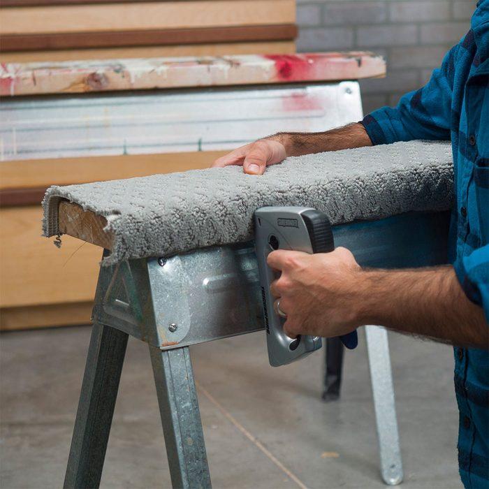 stapling carpet to sawhorses