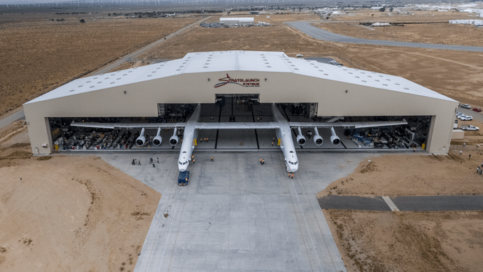 strato from drone in hangar