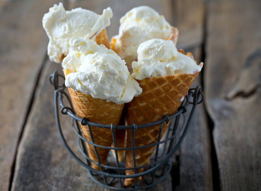 vanilla ice cream on wooden surface