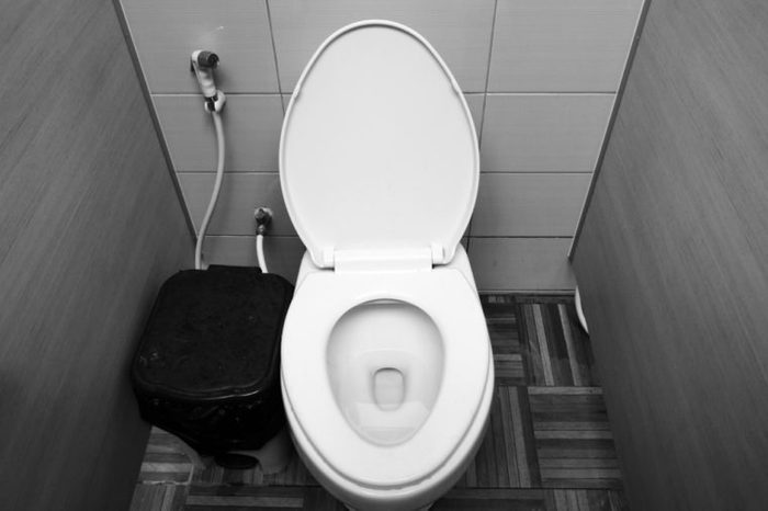 Flushing the toilet in black and white