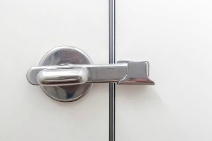 Stainless handle for lock toilet room.