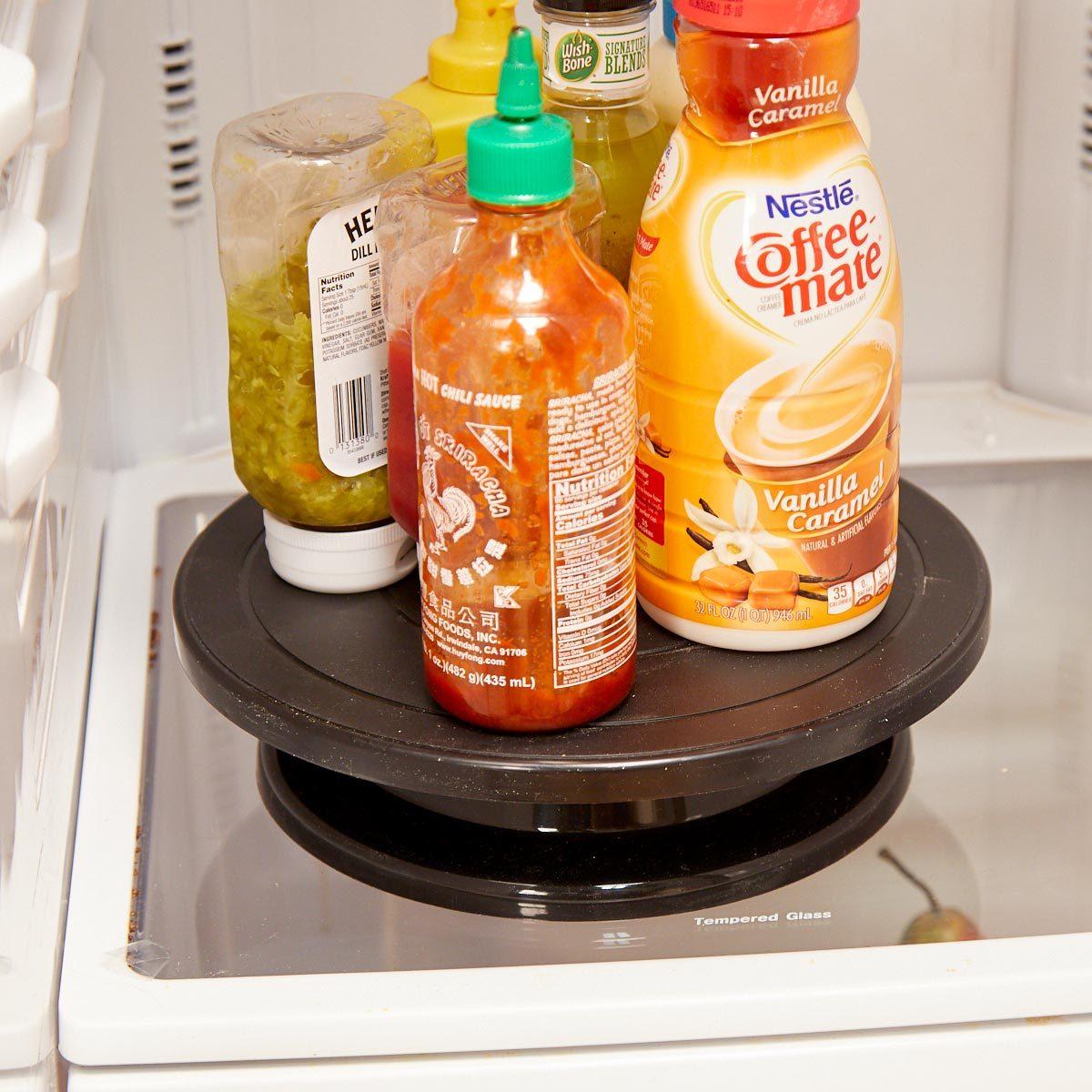 Home organizing hacks lazy susan fridge condiments organization