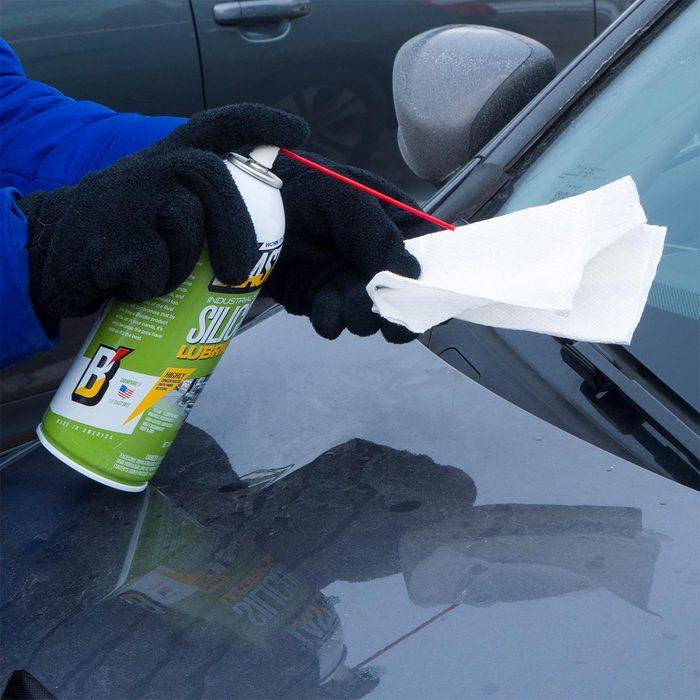spray silicone lubricant on windshield wiper blades