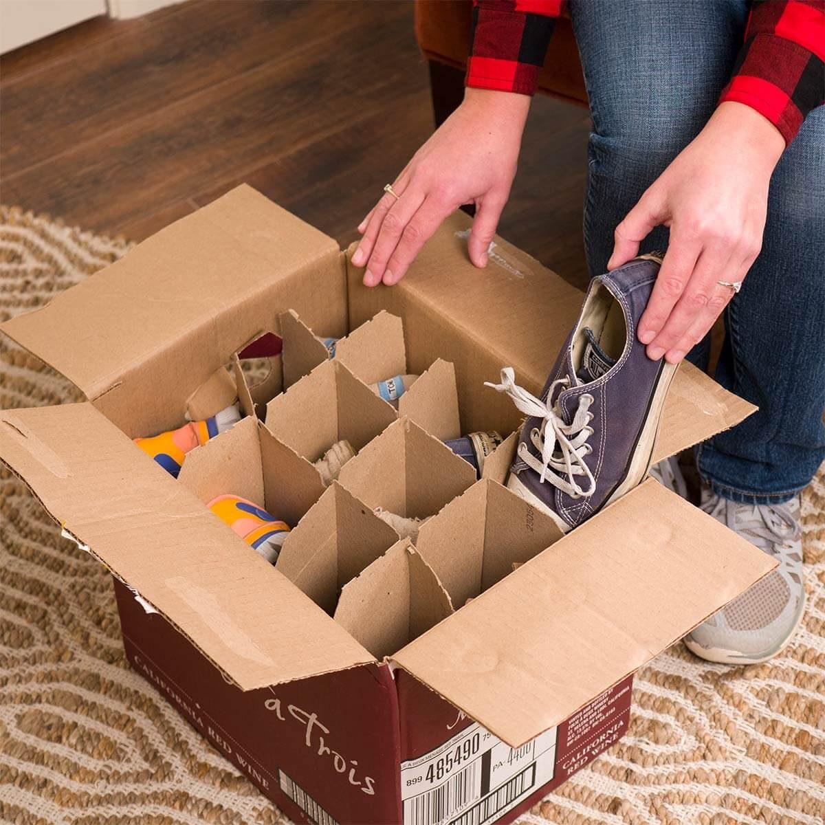 Home organizing hacks wine box shoe storage container