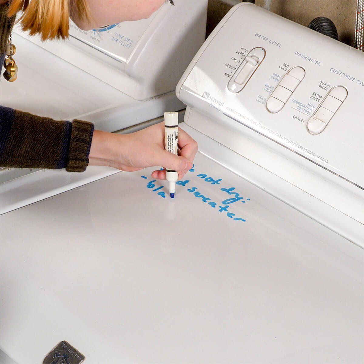 writing notes on washing machine HH
