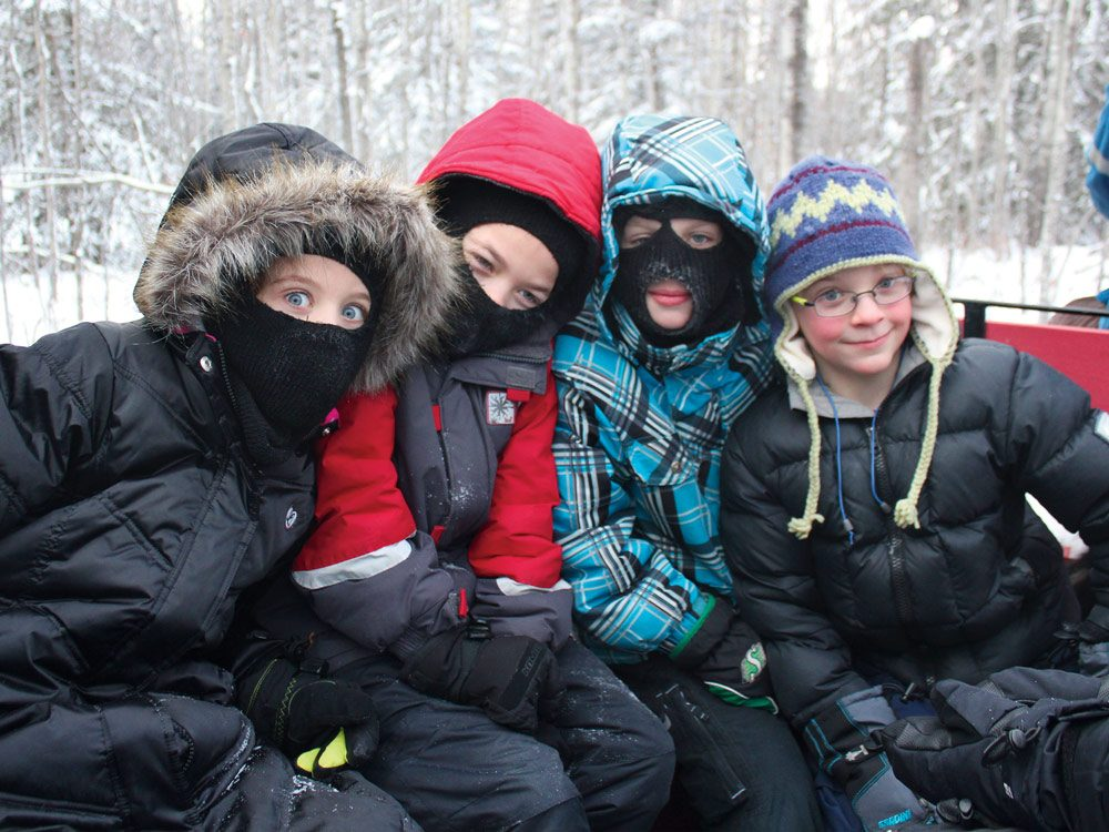 Cute kids dressed up for winter