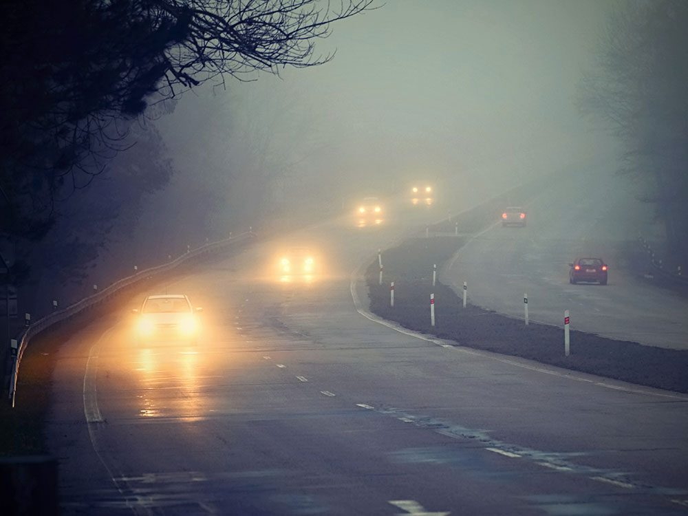 Driving tips - car headlights in fog
