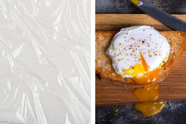 plastic wrap poached egg