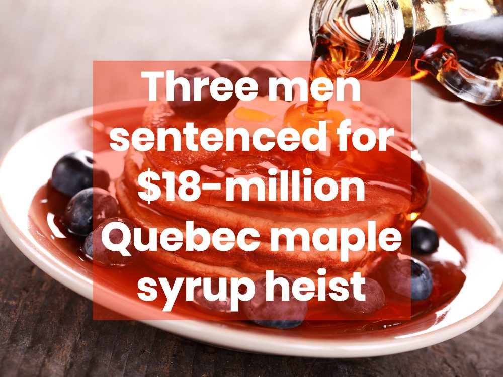 Maple syrup being poured on pancakes