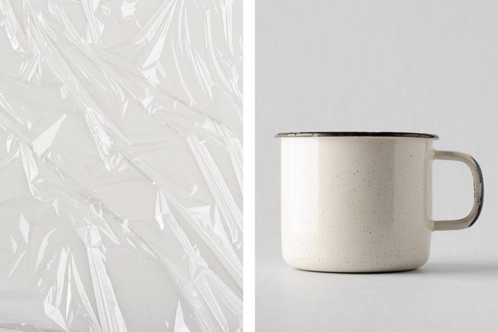 plastic wrap mug