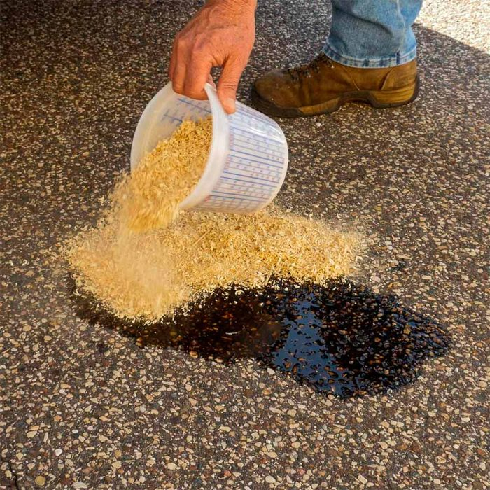 sawdust to soak up used oil spill