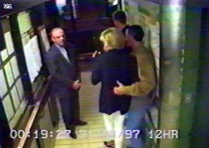 SECURITY VIDEO FROM THE RITZ HOTEL WITH PRINCESS DIANA AND DODI AL FAYED ARRIVING AND LEAVING, PARIS, FRANCE - 1997