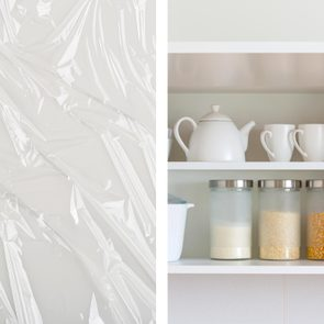plastic wrap uses - line shelves