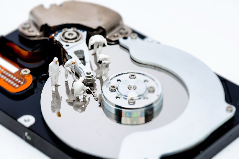 Hard disk drive repair and information recovery concept. Macro photo