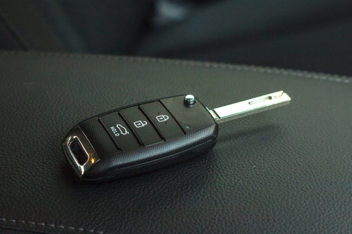 Modern Car remote control key in vehicle interior
