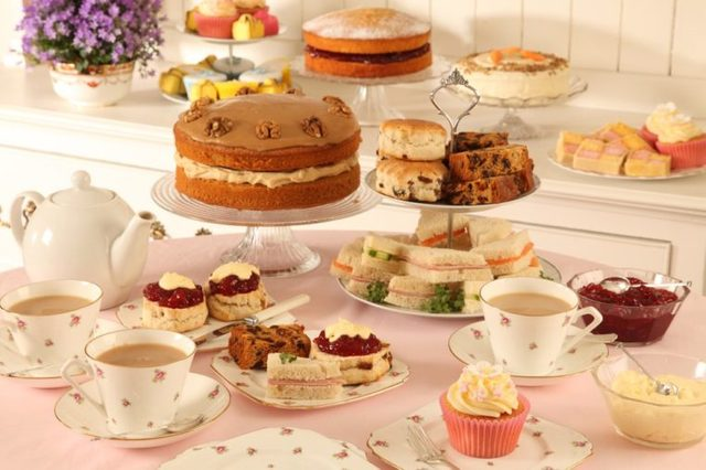 BRITISH AFTERNOON TEA ,SCONES AND CAKES IN TEA ROOM