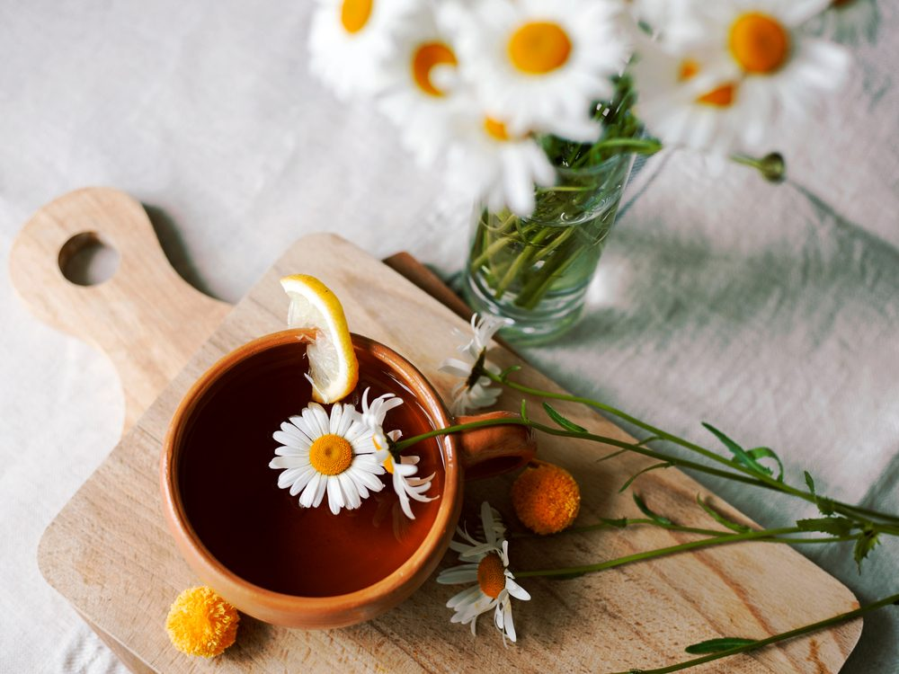 Herbal tea infused with chamomile